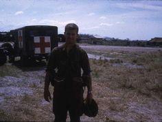 Medical Platoon - 173rd Airborne Brigade Combat Team – Bien Hoa Vietnam 1966. M-43 3/4 ton 4x4 US Army Field Ambulance Truck at the 173rd Airborne Medical Platoon.