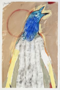 "Rick Bartow | Blue Crow | 2013 | pastel, graphite on paper | 40"" x 26"" 