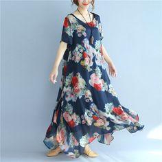 Printing Floral Irregular Women Summer Silk Loose Thin Blue Dress