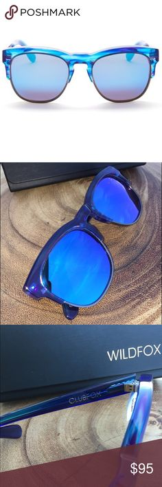 🕶Clubfox Deluxe Wayfarer Sunglasses WILDFOX Clubfox sunglasses. Blue frames with mirrored blue lenses. Brand new with tags! Comes with sunglasses case, lens wipes and box for it all to go in! Wildfox Accessories Sunglasses