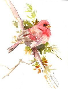 Bird Painting, Rosefinch, original watercolor 10 X 8 in, purple rose walla rt