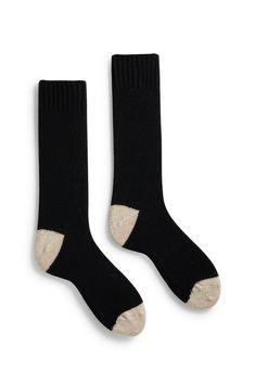 men's contrast toe wool + cashmere crew length socks