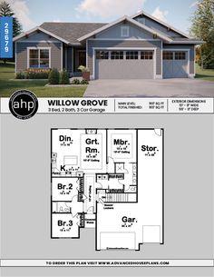 Ideas Landscape Layout Plan Craftsman Style For 2019 Craftsman Style House Plans, Ranch House Plans, Best House Plans, Dream House Plans, Small House Plans, House Floor Plans, House Plans With Garage, Building Plans, Building A House