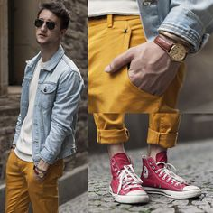 Topman Denim Jacket, Zara Pants, Converse Sneakers, Casio Watch, Giles & Brother Bracelet, Ray Ban Shades, Marc By Marc Jacobs Sweater