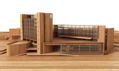 wood architectural model on Behance