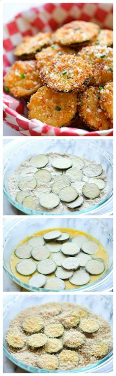 A healthy snack that's incredibly crunchy, crispy and addicting! INGREDIENTS 1/2 cup vegetable oil 1 cup Panko* 1/2 cup grated Parmesan cheese 2 zucchinis, thinly sliced to 1/4-inch thick rounds ...