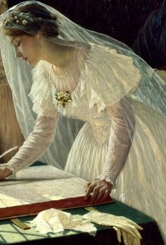 """Signing the Register"" by Edmund Blair Leighton"
