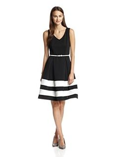 Chetta B Women's Fit-and-Flare Dress (Black/White)