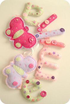 emilia butterfly banner by Heartfelt Handmade Felt Crafts Diy, Felt Diy, Baby Crafts, Craft Gifts, Sewing Crafts, Crafts For Kids, Felt Name Banner, Felt Letters, Nursery Crafts