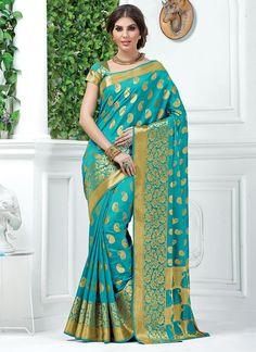 Turquoise Tussar Silk Sarees  #Sarees #IndianSareesOnline #SilkSarees #TussarSilkSarees #SareesOnline #OnlineShopping