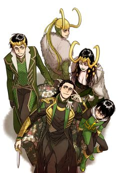 Agent Loki, the Loki that burned, Female Loki, Movie Loki, and Kid Loki.