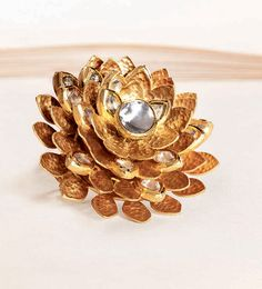Zoya yellow gold lotus ring with polki diamond-studded petals