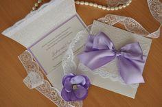 Lavender and Lace Wedding Invitation. Lavender and White Wedding Invite by InvitatiiCouture on Etsy