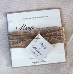 Burlap Wedding Invitation Belly Band Square by LoveofCreating