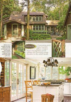 """Cabin Design""  Love the green against the dark wood. Cute cottage design. Also like the white interior. make it seem bright"