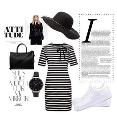 """black and white simple"" by audhayfi on Polyvore featuring NIKE, Marc by Marc Jacobs, Paul & Joe, Olivia Burton, Charlotte Russe and Rika"