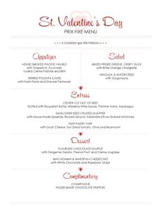 this valentines day enjoy our prix fixed menu with your special someone on friday february 13 and saturday february 14 - Valentine Menu Ideas