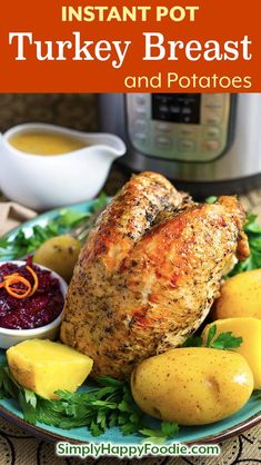 a pressure cooker turkey breast and potato dinner in your Instant Pot, complete with gravy! Instant Pot Turkey Breast Potato Dinner is a one pot meal suitable for Thanksgiving or any time! Pressure Cooker Turkey, Best Pressure Cooker Recipes, Instant Pot Pressure Cooker, Pressure Cooking, Pressure Pot, Best Instant Pot Recipe, Instant Pot Dinner Recipes, Ribs, Potato Dinner