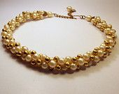 Vintage PEARL and GOLD ROPE Necklace / Choker / Petite Jewelry / Twisted Three Strand / Elegant / Wedding