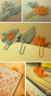 felt flowers and leaves bookmarks Felt Diy, Felt Crafts, Fabric Crafts, Diy And Crafts, Arts And Crafts, Felt Bookmark, Bookmark Craft, Paperclip Bookmarks, Book Markers