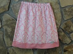 Lovely Pink Damask Skirt with Pink Polka Dot by JustSewStinkinCute, $42.00