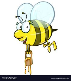 Bee cartoon holding honey bucket on white background. Download a Free Preview or High Quality Adobe Illustrator Ai, EPS, PDF and High Resolution JPEG versions.