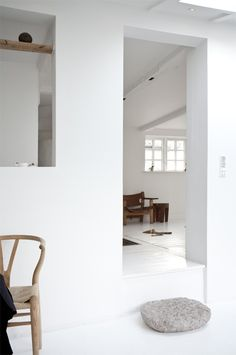 "Nice idea: ""window"" between rooms with shelves (or even a normal window with shelves)"