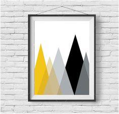 Mustard Mountain Print Scandinavian Print Yellow Wall Art Black and Yellow Print Mustard Decor Triangle Print Geometric Art Minimalist Print by PrintAvenue on Etsy https://www.etsy.com/listing/252243394/mustard-mountain-print-scandinavian