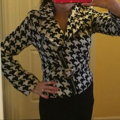 Express Black and White Jacket Very cute jacket with belt. Outdoor coat. Trendy and stylish. Barely worn. Express Jackets & Coats