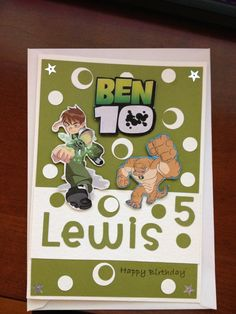 Birthday card in Ben 10 design using stampin up circle punches and download images Ben 10 Birthday, Birthday Cards, Happy Birthday, Craft Cards, Kids Cards, Circle Punch, Handmade Cards, Cardmaking, Stampin Up
