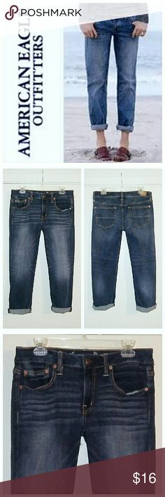 AEO Boy Fit Capri Jeans Fun jeans in excellent shape. Freshly laundered just for you. Waist 34 - Hips 38 - Rise 9 - Inseam 26. American Eagle Outfitters Jeans Boyfriend
