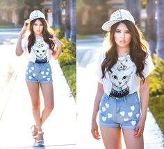 Hot Sale Heart Print Shorts In Light Blue #ECS010828