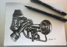 Muso Collection - Hugh Masekela A collection of pen drawings of South African Music Icons. Hugh Masekela, Pen Drawings, Music Icon, Digital Illustration, How To Draw Hands, African, Icons, Hand Painted, Artwork