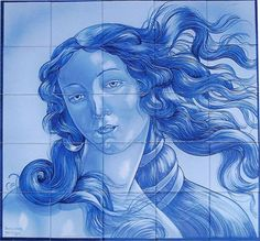 Hand-painted azulejos tiles in Tavira Portugal