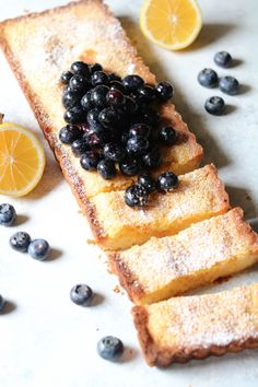 Lemon Blueberry Shortbread Tart Lemon Desserts, Just Desserts, Delicious Desserts, Meyer Lemon Recipes, Tart Recipes, Baking Recipes, Sweet Recipes, Sweet Pie, Sweet Tarts