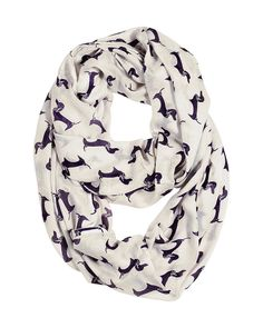 Hand screen-printed adorable Dachshund Doxie sausage dog all-over print infinity circle loop scarf, lightweight and silky soft. Trendy, stylish and
