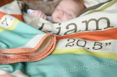 """The """"Earn Your Stripes"""" Custom Personalized Birth Stat Organic Cotton Knit Receiving Baby Blanket - Introductory Pricing on Etsy, $30.00"""