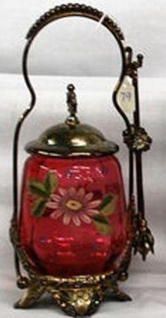 Pickle Castor; Cranberry Glass, Enameled Floral, Tongs, Silverplated Holder. Brides Basket, Condiment Sets, Pickle Jars, Cranberry Glass, Antique Glassware, Victorian Art, Vintage Dishes, Carnival Glass, Old Art