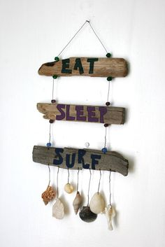 Eat Sleep Surf Driftwood Sign with shells by PeaceLoveDriftwood