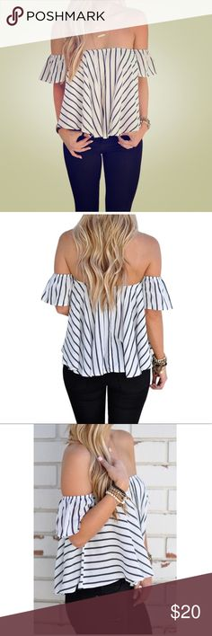 "Off shoulder stripe top Super cute and chic top for summer. Elastic band with flowy style. Material: cotton blend. Lay flat measurements: armpit to armpit 12"" -18""; arm 5""-8"" Tops Crop Tops"