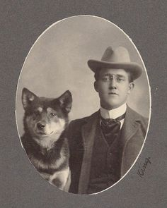 1890's CAB - MAN & HIS 'BEST FRIEND' - HIS AKITA DOG - KING