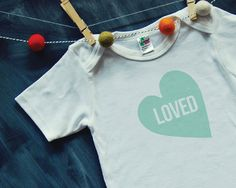 BABY BODYSUIT mint LOVED heart by HENANDCO on Etsy