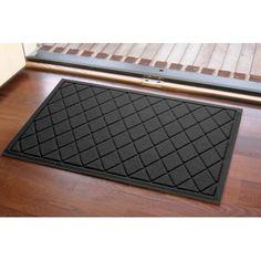 "Darby Home Co Aqua Gretchen Argyle Doormat Color: Charcoal, Rug Size: Rectangle 18"" x 28"""
