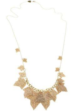 Ivy Leaves Long gold Necklace Tatty Devine, Ivy Leaf, Gold Glitter, Gold Necklace, Leaves, Finders Keepers, Jewels, Diamond, Pretty