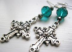 Emerald green crystal dangle earrings with cross by LaylasTrinkets, $10.00