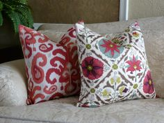 Modern Accent Pillow - Home Decor Designer Fabric  - Decorative Pillow  Throw Pillow - Pink, Coral, Taupe, Winter White. $40.00, via Etsy.