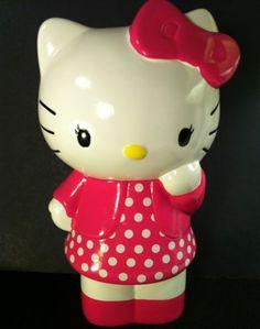 "HELLO KITTY CERAMIC FIGURE BANK Coin Piggy Sanrio Pink Polka Dot Dress 9"" CUTE!"