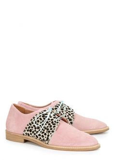 Exclusive to Harvey Nichols Rogues light pink suede Derby shoes Heel measures approximately 1 inch/ 25mm Printed calf hair sides, designer stamp, aqua laces, almond toe Lace-up front Comes with a dust bag and additional white laces