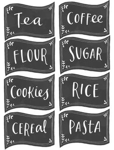 Free Black Pantry Chalkboard Labels #Printables :: Kitchen labels for your pantry spice jar containers and canisters are designed by Emily McDowell, illustrator and designer.  #chalkboard #pantry [http://www.fabnfree.com/2013/03/22/free-pantry-labels/]