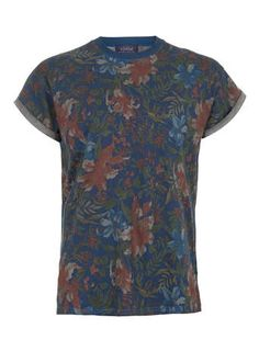 INDIGO TROPICAL FLORAL T-SHIRT